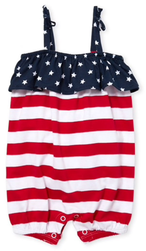 Baby Girls Americana Sleeveless Stars And Stripes Print Knit Romper