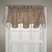 Ellis Curtain Foliage Design Floating Leaves Lined Window Scallop Valance 70 X 15