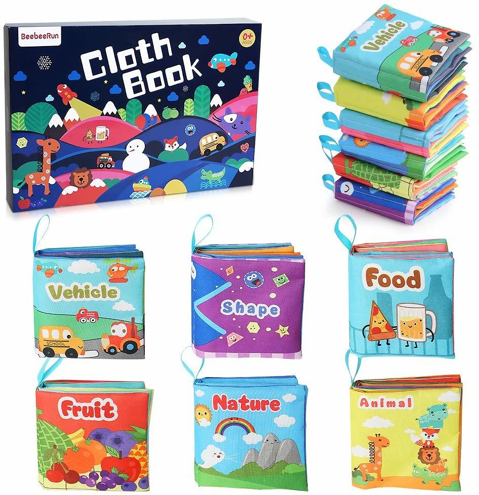 Baby's First Soft Books with Rustling Sound, Non-Toxic Cloth Books Toy Set for Newborns, Infants, Toddlers & Kids.Perfect for Baby Toy Gift Sets Baby Shower -Pack of 6 : Baby