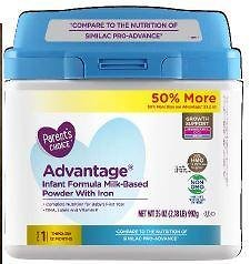 Perrigo Issues Voluntary Recall For Parent's Choice Advantage Infant Formula Milk-Based Powder With Iron