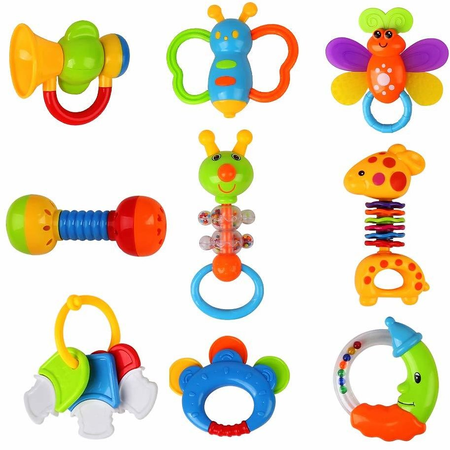 9 PCS Rattles Teether and Shakers Toys for Baby Newborn