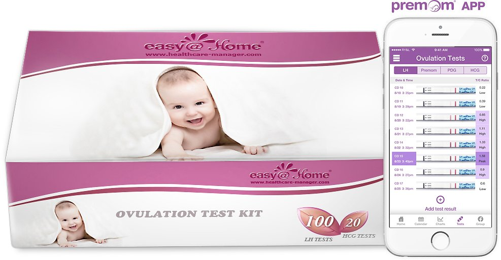 Easy@Home 100 Ovulation Test Strips and 20 Pregnancy Test Strips Kit-The Reliable Ovulation Predictor Kit (100 LH + 20 HCG), Powered By Premom Ovulation Predictor IOS and Android App