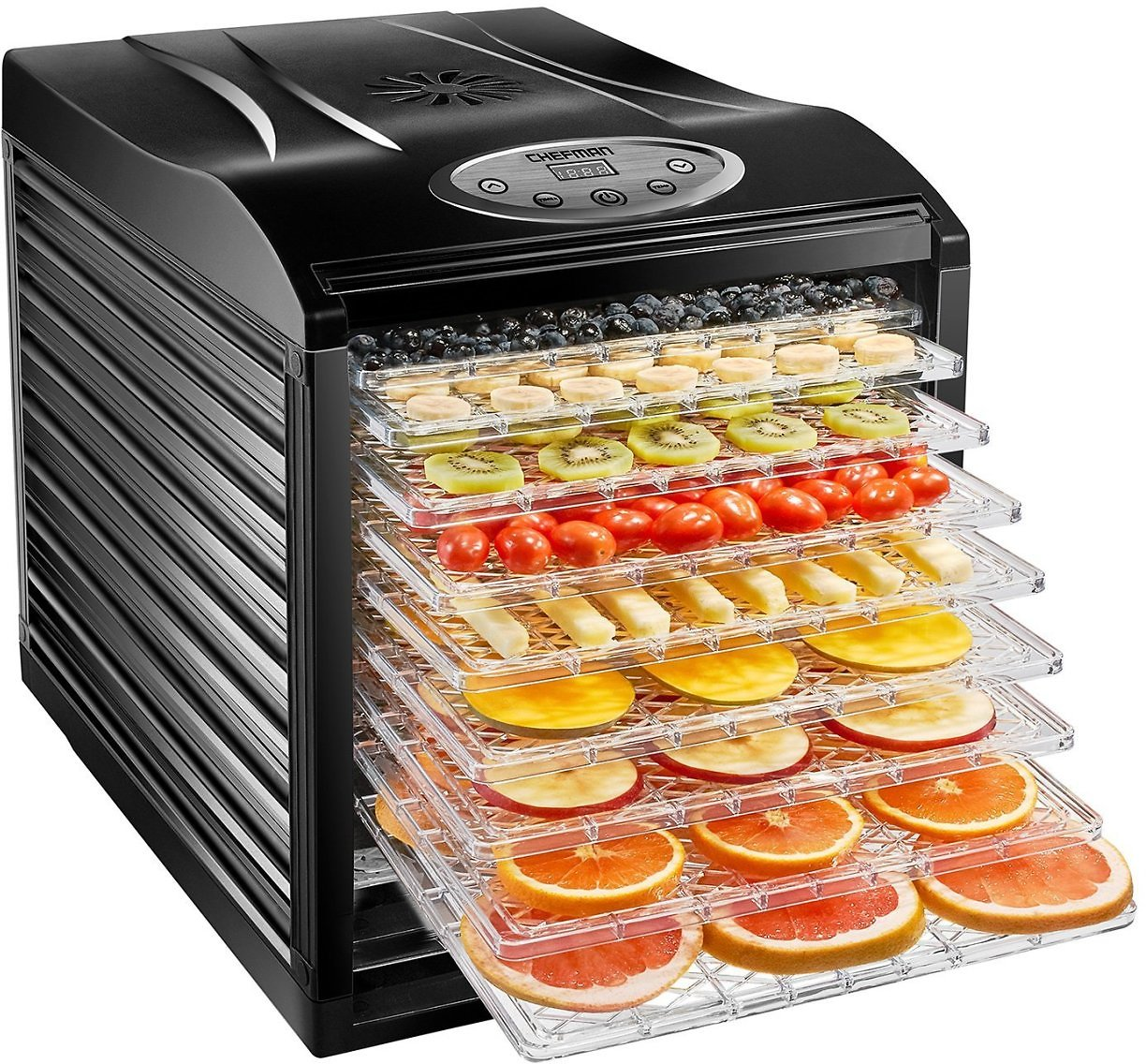 Chefman 9-Tray Food Dehydrator Machine Professional Electric Multi-Tier Food Preserver, Dried Meat or Beef Jerky Maker, Fruit & Vegetable Dryer with 9 Slide Out Trays & Transparent Door, Black: Kitchen & Dining