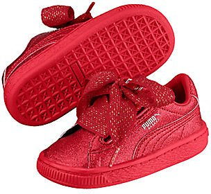 PUMA Girls' Basket Heart Holiday Glamour PS Sneaker