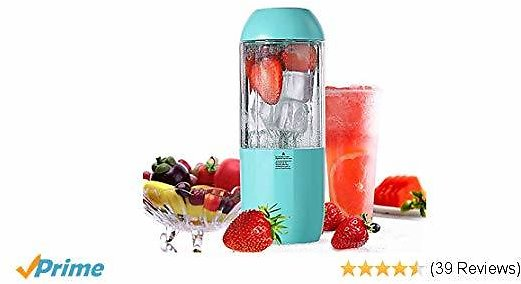 DICPHIL JC-10 Portable Blender Shakes and Smoothies 380ml USB Rechargeable 6-Blade and Detachable On The Go Personal Juicer Cup Superb Mixing,CE/FDA Approved, Mini Mixer, Blue