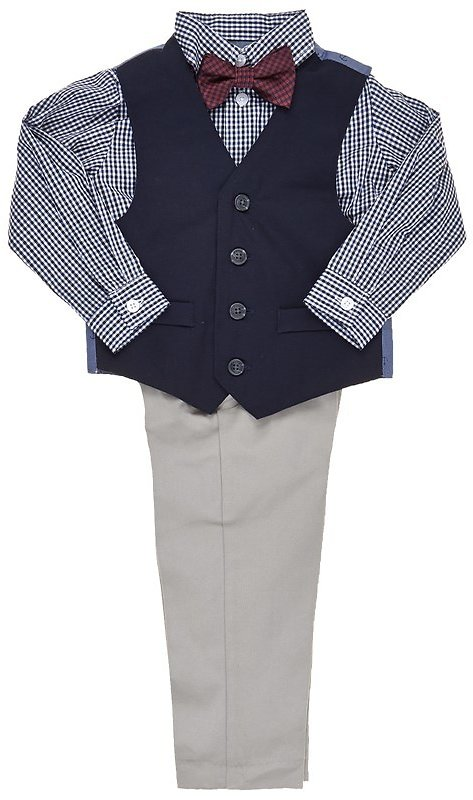 Baby Boys Navy Vest with Plaid Shirt, Pants & Bow Tie (12-24m) 311194264