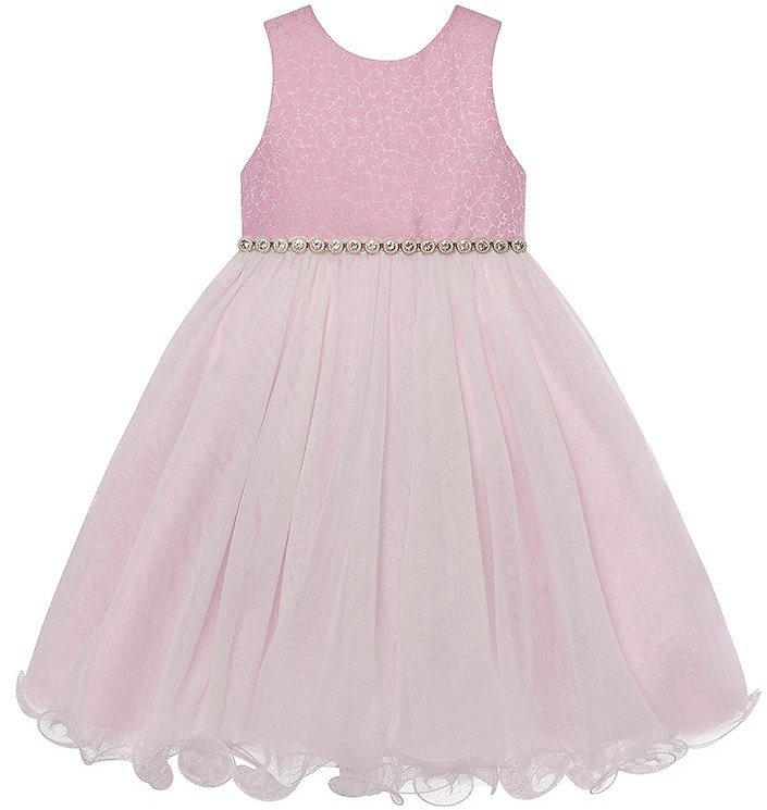 Toddler Girls Brocade Dress with Shimmery Wire Ruffle Hem Skirt (2T-4T) 713081540