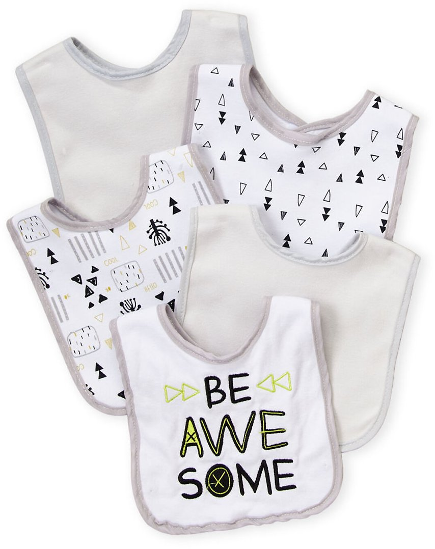 (Newborn/Infant Boys) 5-Pack Printed Bib | C21