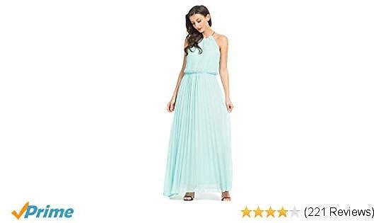 PERSUN Women's Casual Chiffon Cut Out Shoulder Pleated Party Maxi Dress
