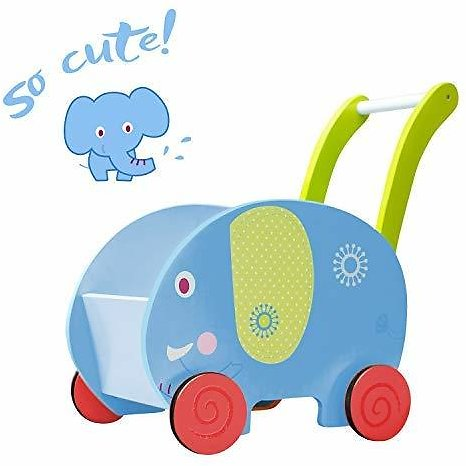 Labebe - Baby Walker Toy for Girl&Boy, Push/Pull Wagon Cart for Kid, 4 Wheels Learning Walker Blue, Elephant Push Toy Stroller for Toddler 1-3 Years Old, Toy Shopping Cart, Wooden Toy Wagon for Infant