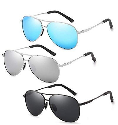 Polarized Aviator Sunglasses for Men and Women-100 UV Protection Mirrored Lens -Metal Frame with Spring Hinges At Amazon Men's Clothing Store: