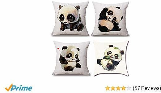 2 Set 20% OFF MOCOFO Cotton Linen Decorative Cute Panda 2-Sided Throw Pillow Case Hypoallergenic Cushion Cover 18