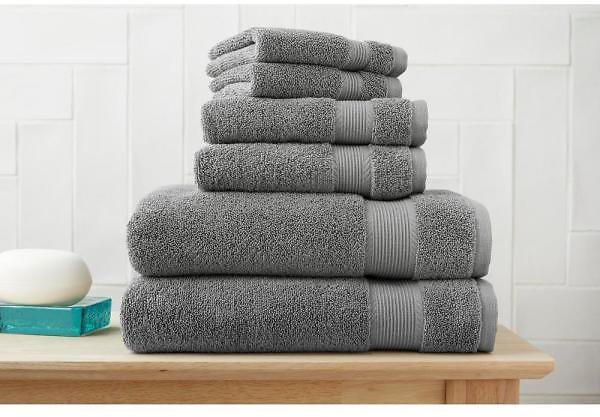 StyleWell 6-Piece Hygrocotton Towel Set in Stone Gray AT17642_Stone G