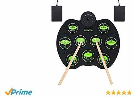 30% Off Ammoon Electronic Drum Set, Roll Up Drum Kit 9 Drum Pads 2 Foot Pedals $39.19