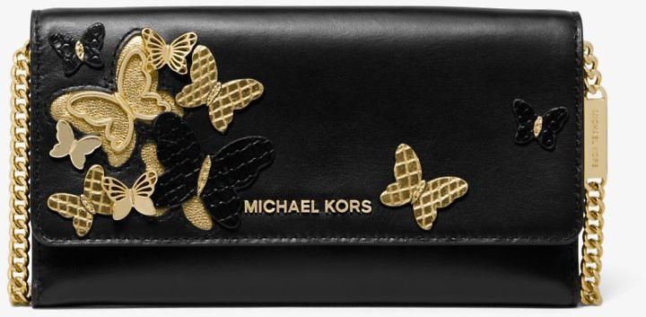 Michael Kors Large Butterfly Embellished Leather Convertible Chain Wallet - 3 Colors