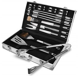 18-Piece Stainless Steel BBQ Tool Set with Case, Barbecue Grill Utensil Gift Kit