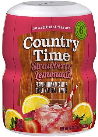 (6 Pack) Country Time Strawberry Lemonade Drink Mix, 18 Oz Jar