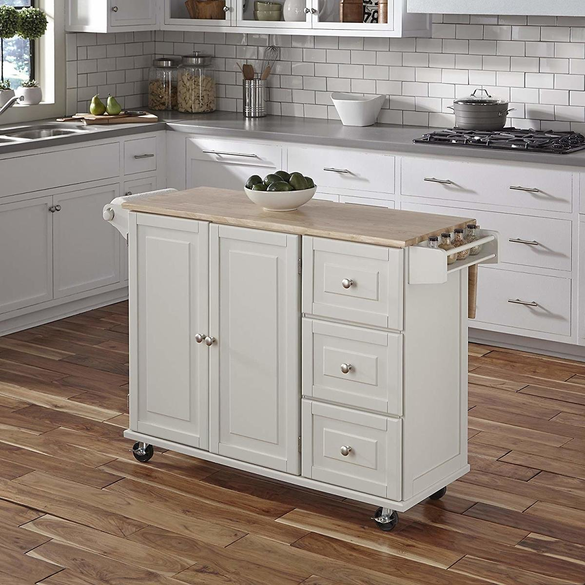 (Ships Free)  Liberty White Kitchen Cart with Wood Top By Home Styles