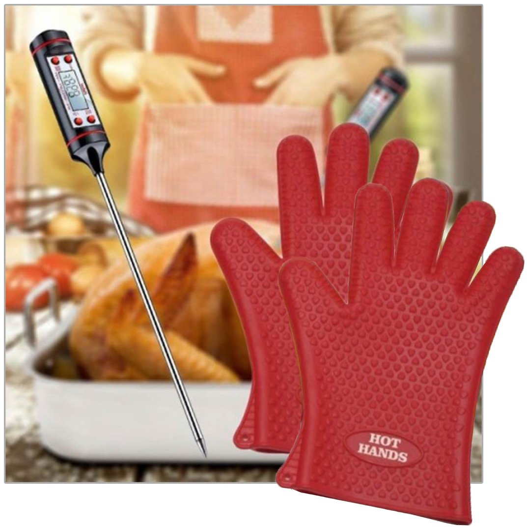 3 Piece Set Habor Digital Meat Thermometer and Hot Hands