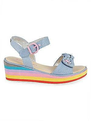 Juicy Couture Little Girl's Denim Rainbow Sandals, Size 4 Only