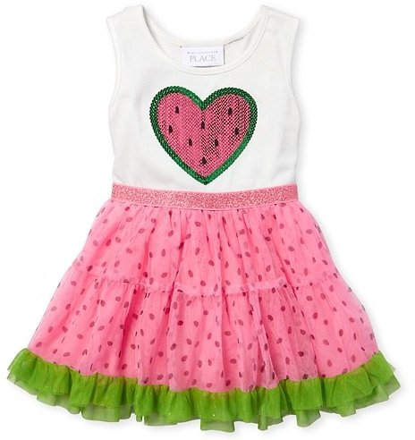 Baby And Toddler Girls TINY COLLECTIONS Sleeveless Embellished Graphic Knit To Woven Dress | The Children's Place