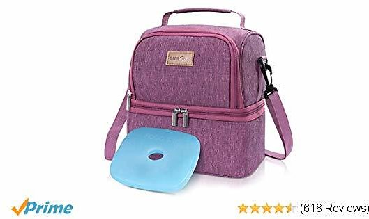Lifewit Insulated Lunch Box Lunch Bag for Adult/Women/Girls, Water-Resistant Leakproof Thermal Cooler Bento Bag for Work/School/Meal Prep, Dual Compartment, 7L, Rosy Pink [ with Ice Pack ]