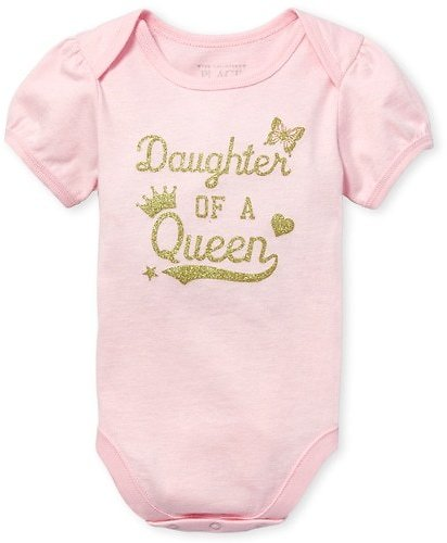 Today Only Baby Girls Short Sleeve Glitter 'Daughter Of A Queen' Graphic Bodysuit