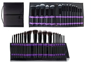 Makeup Brush Set with Foldable Organizer (12- or 15-Piece)