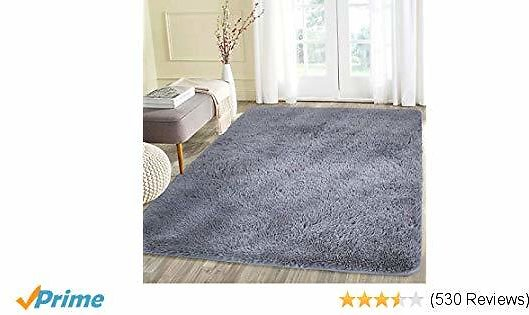Noahas Super Soft Modern Shag Area Rugs Fluffy Living Room Carpet Comfy Bedroom Home Decorate Floor Kids Playing Mat 4 Feet By 5.3 Feet, Gray Upgraded