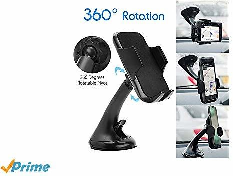 LotFancy Cell-Phone Holder for Car, 360 Rotation Car Cell Phone Holder, Universal Car Phone Mount, Dashboard Windshield Cradle with Strong Sticky Suction Cup for IPhone X XS XR Samsung Galaxy Black