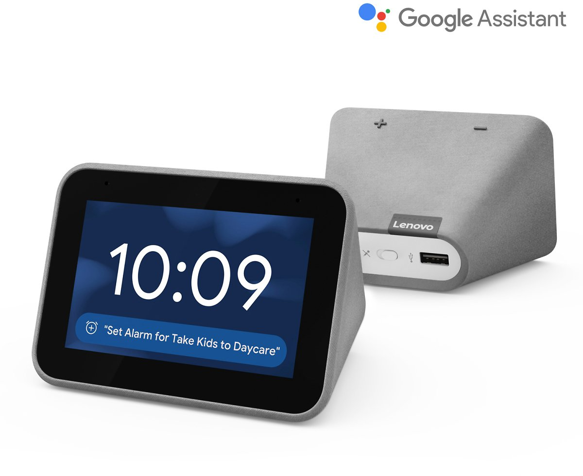 Lenovo Smart Clock with Google Assistant - Chalk / Charcoal