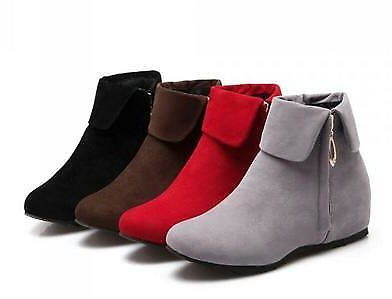 Women's Comfortable Ankle Boots Low Heel Suede Roma New Ladies Shoes Plus Size