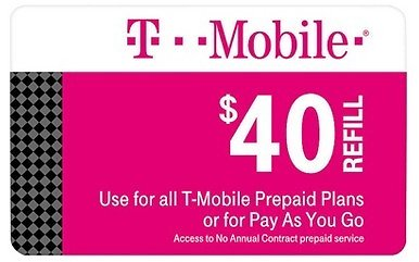 T-Mobile $40 Prepaid Refill Card (Email Delivery)