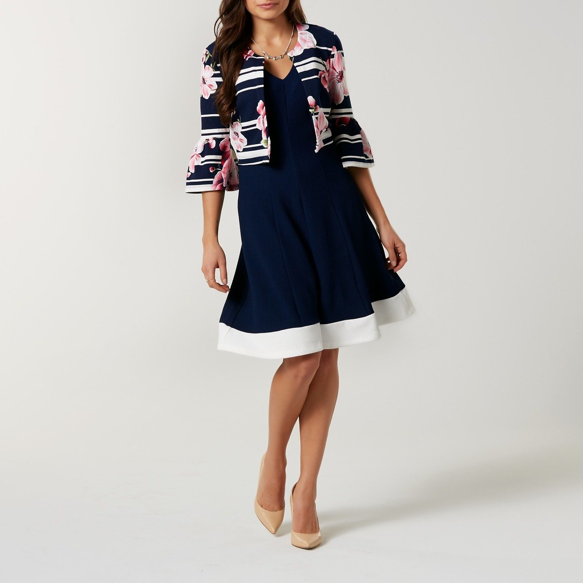 Robbie Bee Women's A-Line Dress & Cropped Cardigan - Floral