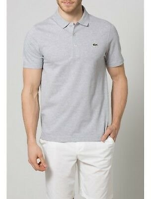 NEW Lacoste Sport Mens Textured Ribbed Logo Polo Shirt Grey Size FR 3 US Small