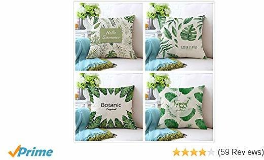 MOCOFO 4 Pack Green Garden Tropical Leaves Fresh Plant Cotton Linen Sofa Home Decor Design Throw Pillow Case Cushion Covers Square 18x18 Inch