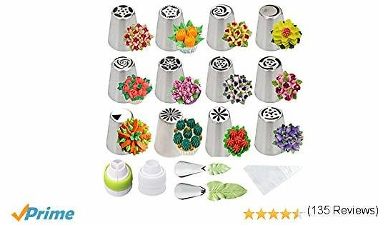 Cofe-BY Russian Piping Tips (26PCS/SET), Cake Decorating Supplies Kit Tips ONLY CDN $16.83