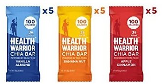 Health Warrior Chia Bars, Breakfast Variety Pack, Gluten Free, Vegan, 25g Bars, 15 Count : Industrial & Scientific