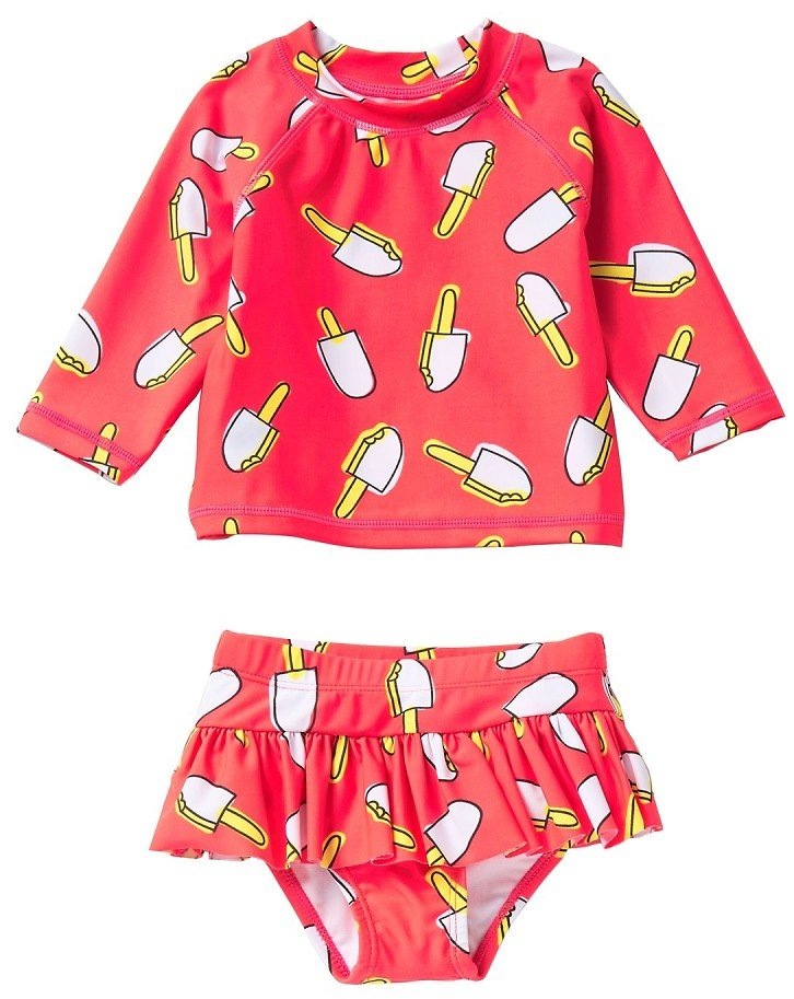 Ice Cream Long Sleeve Rashguard Set (Baby Girls)