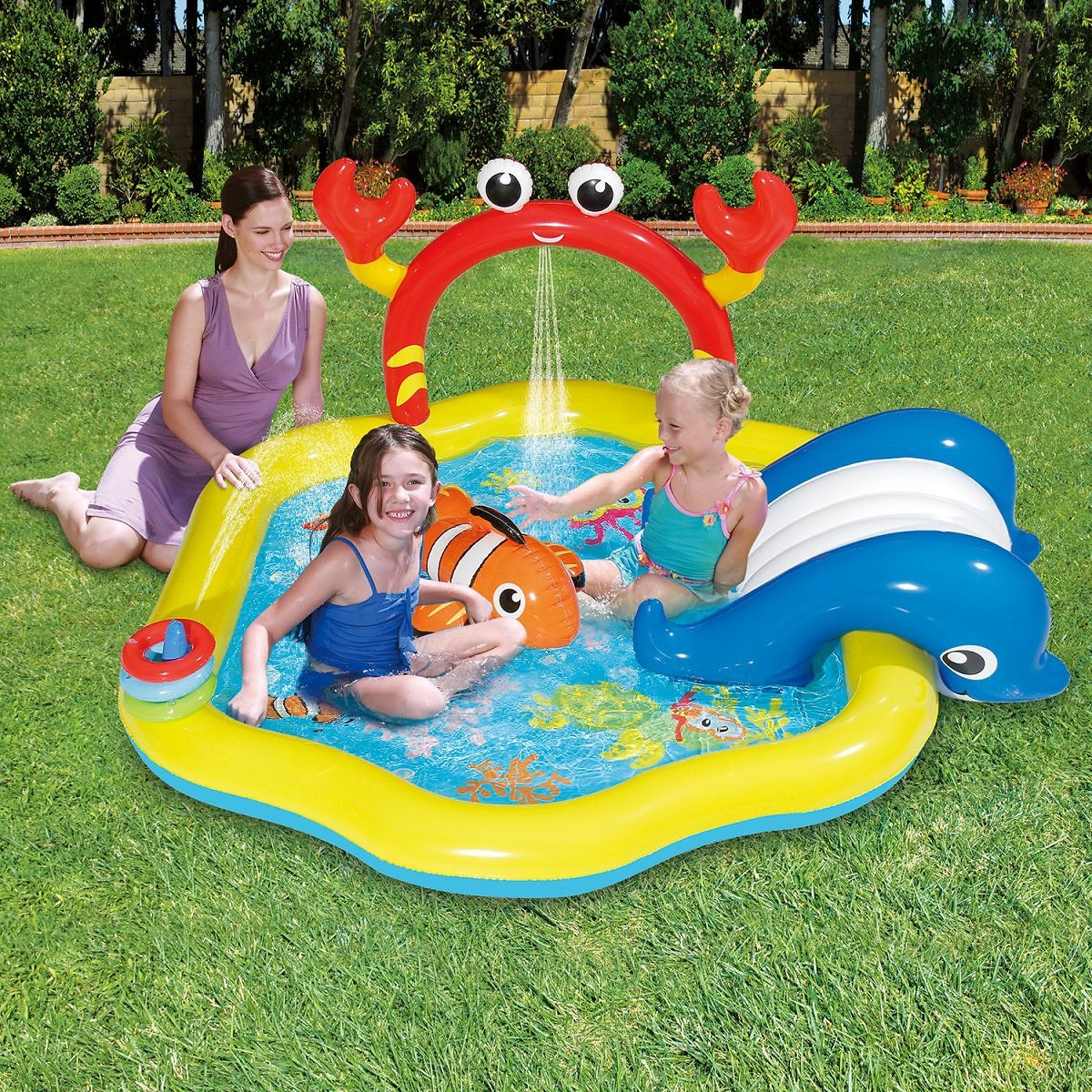 Summer Waves Inflatable Under The Sea Kiddie Swimming Pool Play Center w/ Slide