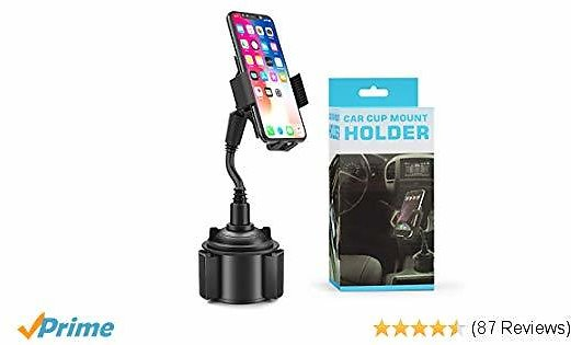 [2019 New] Cell Phone Holder for Car, Amabana Universal Cup Holder Car Mount 360Adjustable Gooseneck Car Phone Mount for Cell Phone IPhone Xs/XS Max/X/8/7 Plus/Galaxy