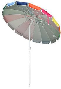 AplusBuy AplusBuy 6 Ft Metal Rainbow Beach Patio Umbrella 16 Rib Tilt Market Table Umbrella Sunshade Cover