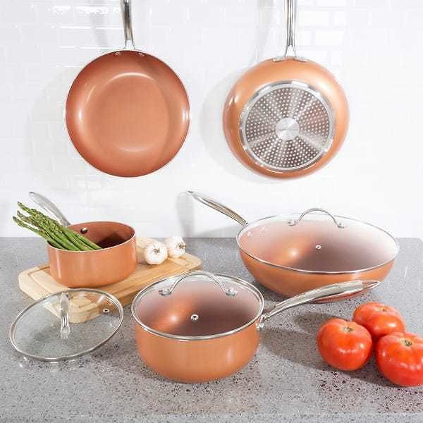 Classic Cuisine 8-Piece 2-Layer Nonstick Copper Aluminum Ceramic Coating Cookware Set with Lids M030114