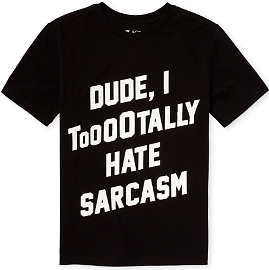 85% Off - Boys Short Sleeve 'Dude I Totally Hate Sarcasm' Graphic Tee