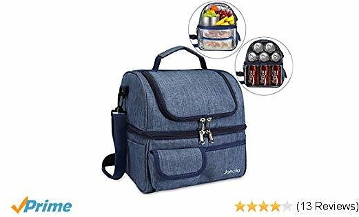 Janolia Lunch Bag, Large Capacity Cooler Tote Bag for Men, Women, Double Deck Cooler, Capable for 21 Cans of 330ML Coke At Most ...