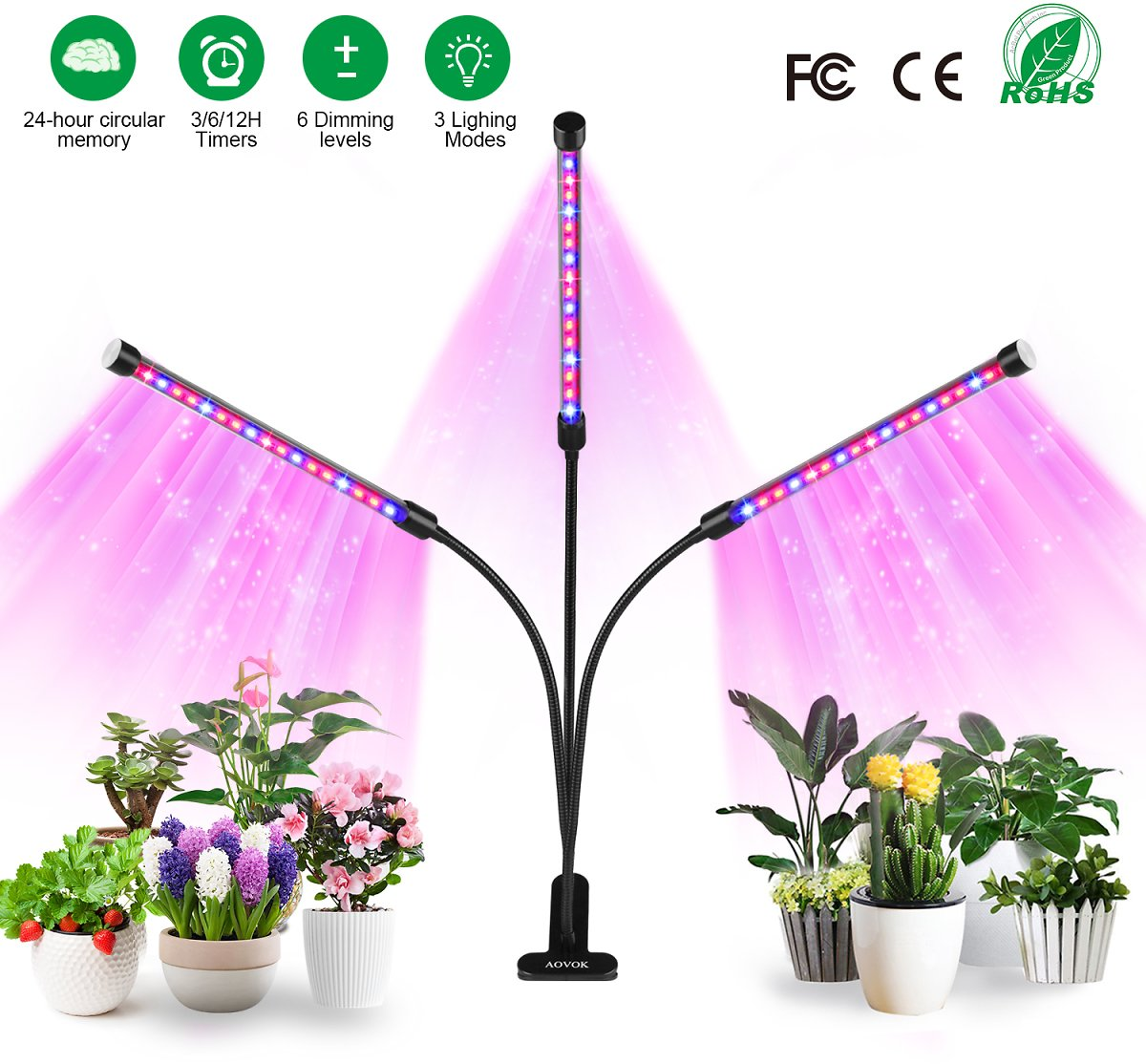 AOVOK LED Grow Light, Grow Lamp Bulb Triple Head Plant Lights with 3/6/12 Timer 6 Dimmable for Indoor Plants, Vegetable, Flowers, Fruits, Succulents, Seedlings Starting : Garden & Outdoor
