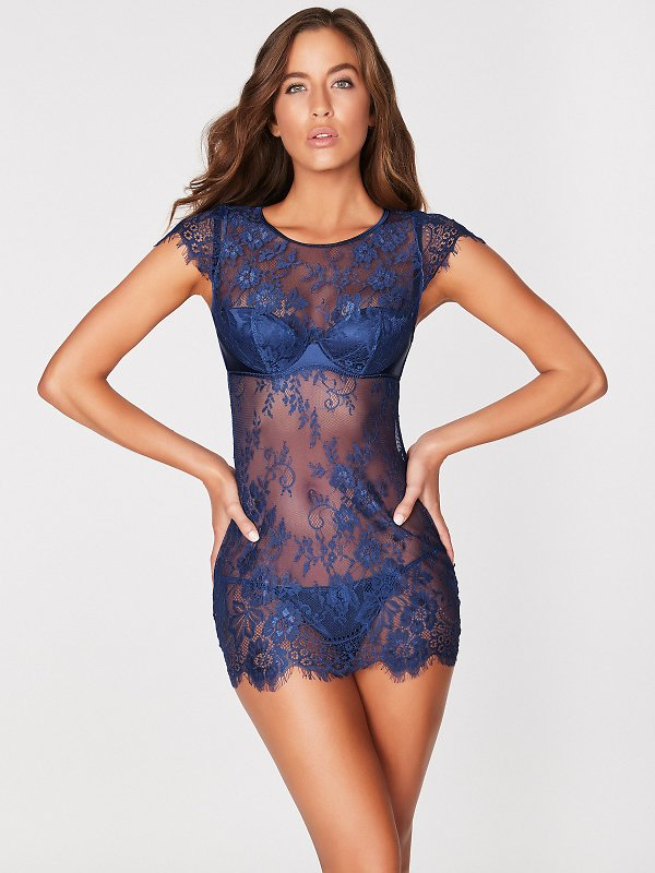 Ophelia Delicate Lace Chemise - Blue