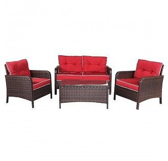 4 Pcs Outdoor Rattan Wicker Loveseat Furniture Set w/ Cushions