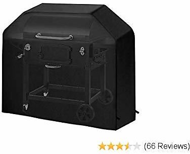 PATHONOR BBQ Grill Cover, Grill Cover 58 Inch BBQ Cover Heavy Duty Grill Master Grill Cover with PU Coating UV Fade Resistant Cover 3-4 Burner BBQ Cover Storage Bag Fits Most Brands of Grill (Black)
