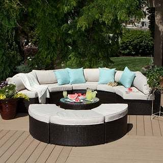 Havenside Home Isla 9-piece Outdoor Sectional | Overstock.com Shopping - The Best Deals On Sofas, Chairs & Sectionals